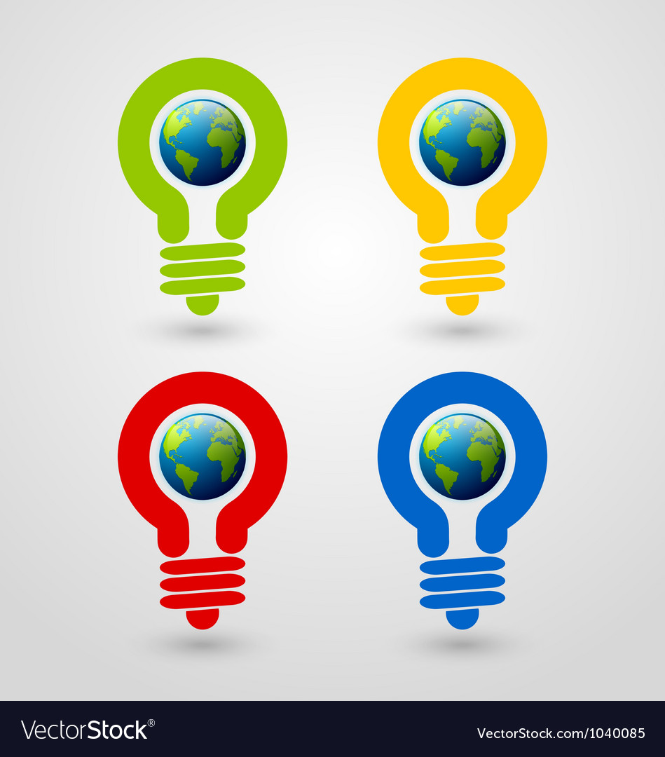 Light bulb earth icons vector image