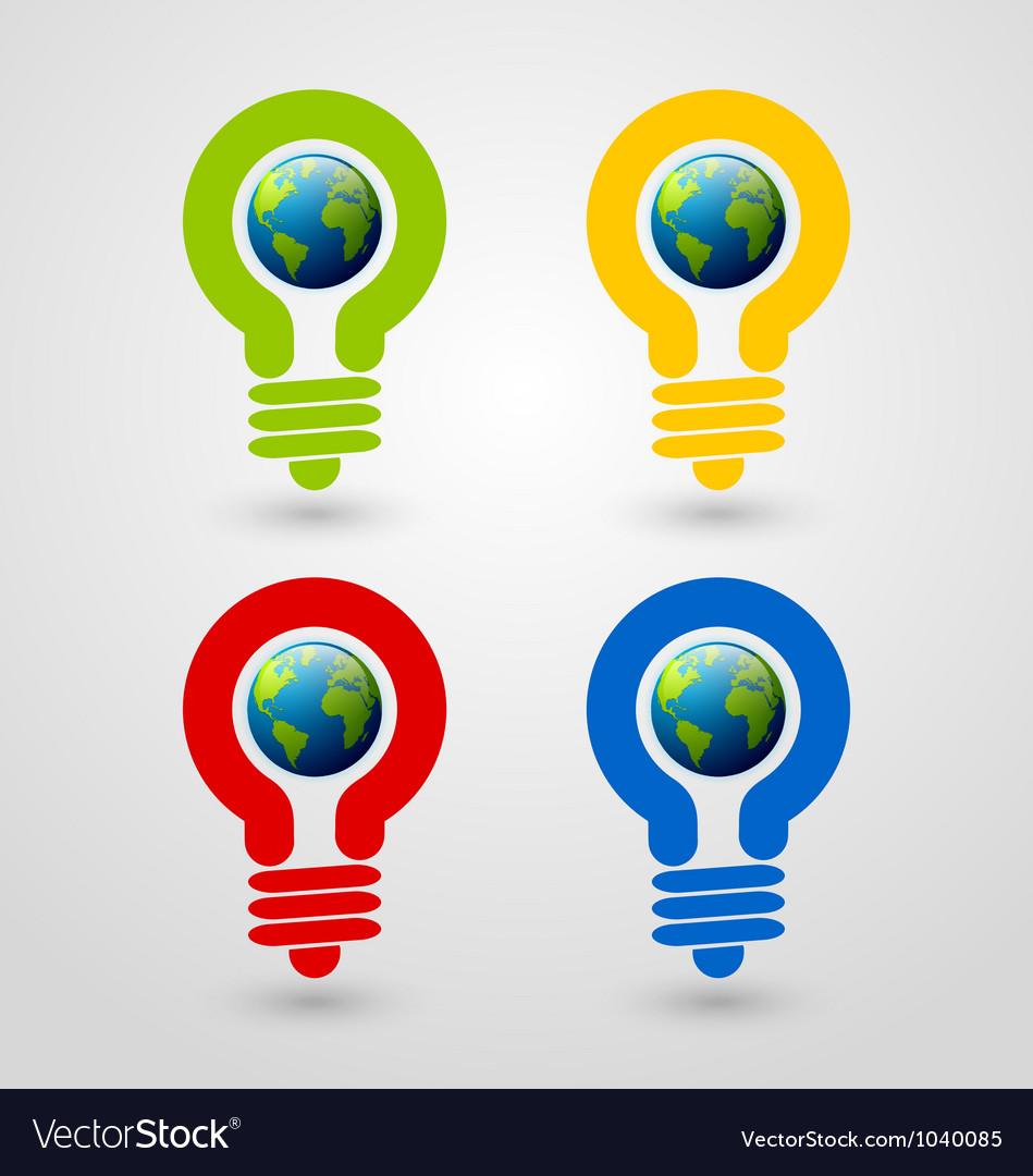 Light bulb earth icons Vector Image
