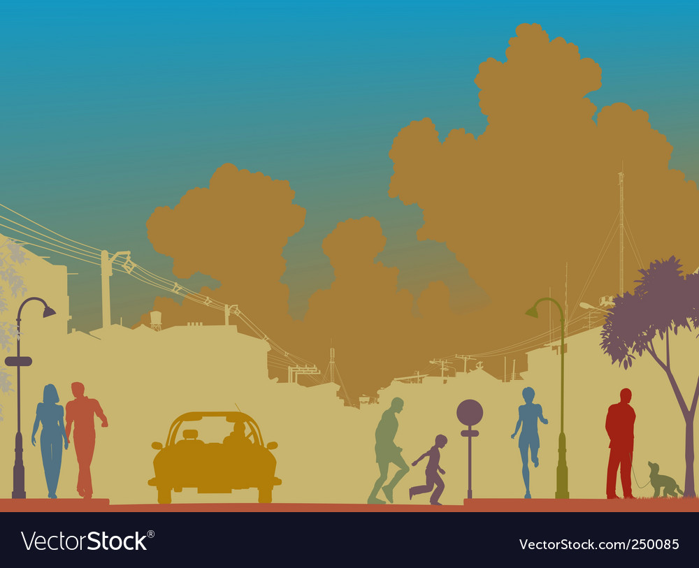 Colorful street vector image