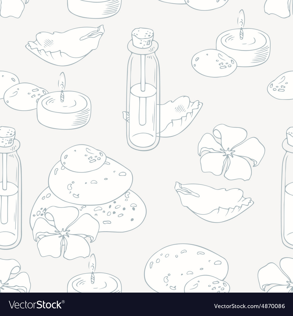 Aromatherapy and spa outline seamless pattern vector image