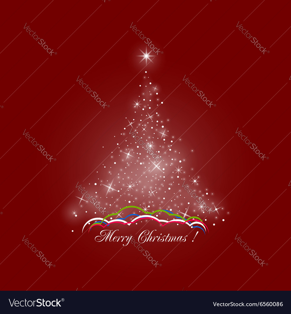 Christmas Tree of Lights on Red Background vector image