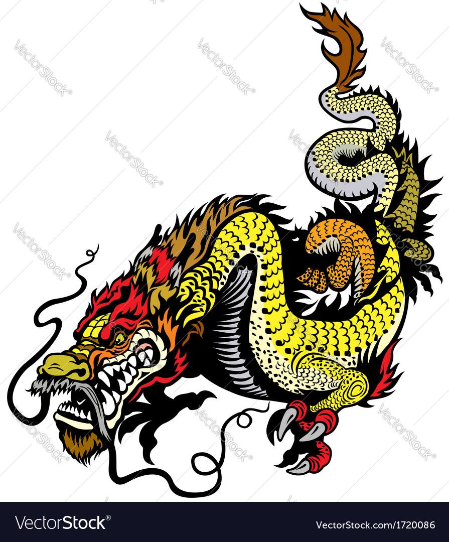 Golden dragon vector image