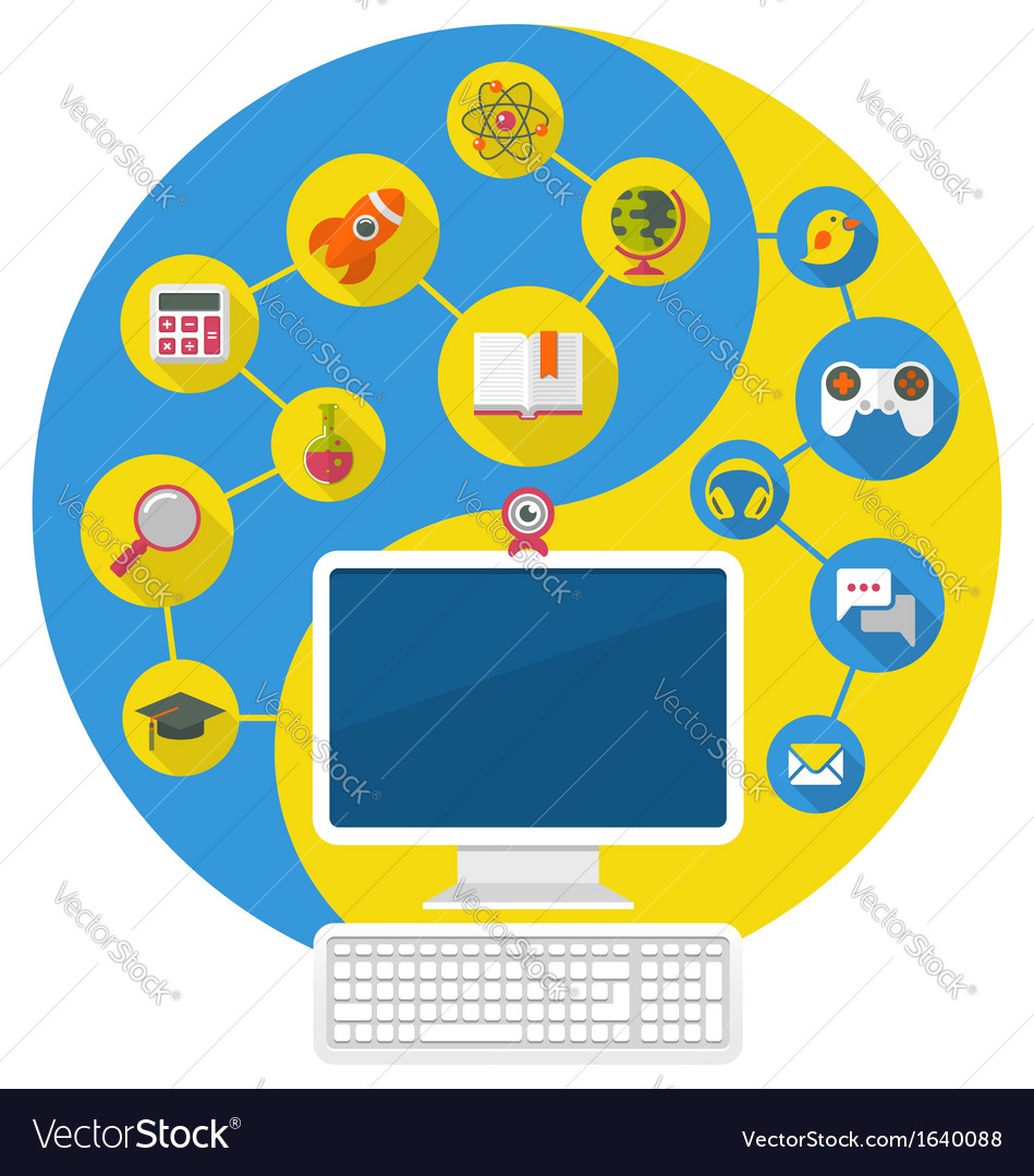 Computer for Education and Leisure vector image