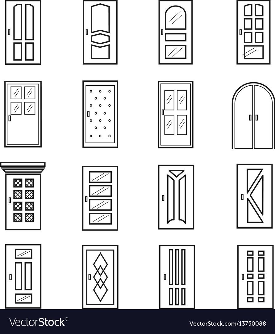 Linear door icons thin outline line doors of vector image  sc 1 st  VectorStock & Linear door icons thin outline line doors of Vector Image pezcame.com