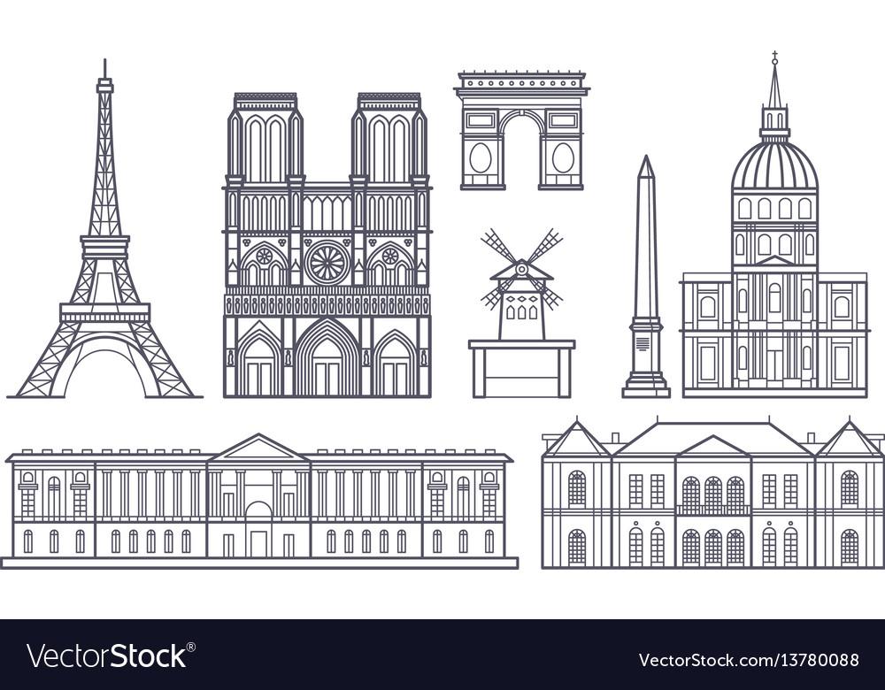 Outline paris landscape france landmarks vector image