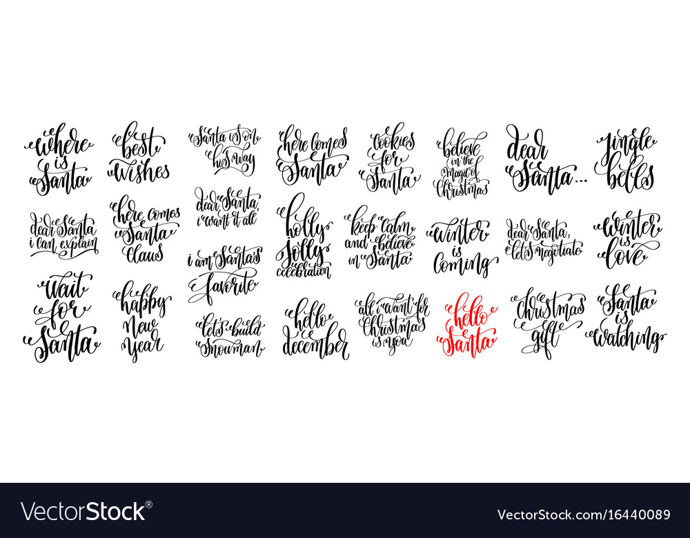 25 hand lettering set to christmas holiday design vector image