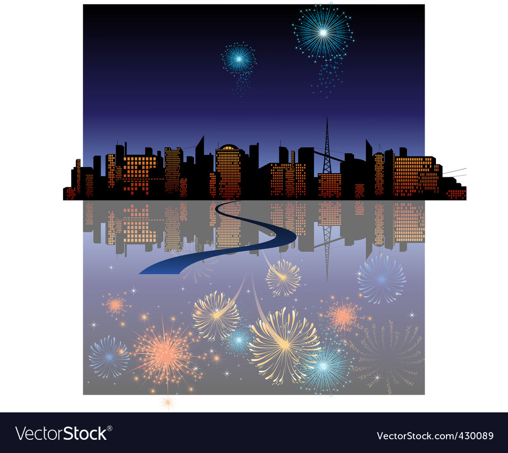 Fireworks in the city Vector Image