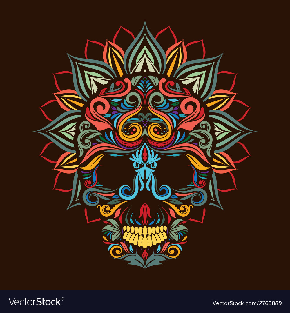 Skull and Lotus Flower vector image