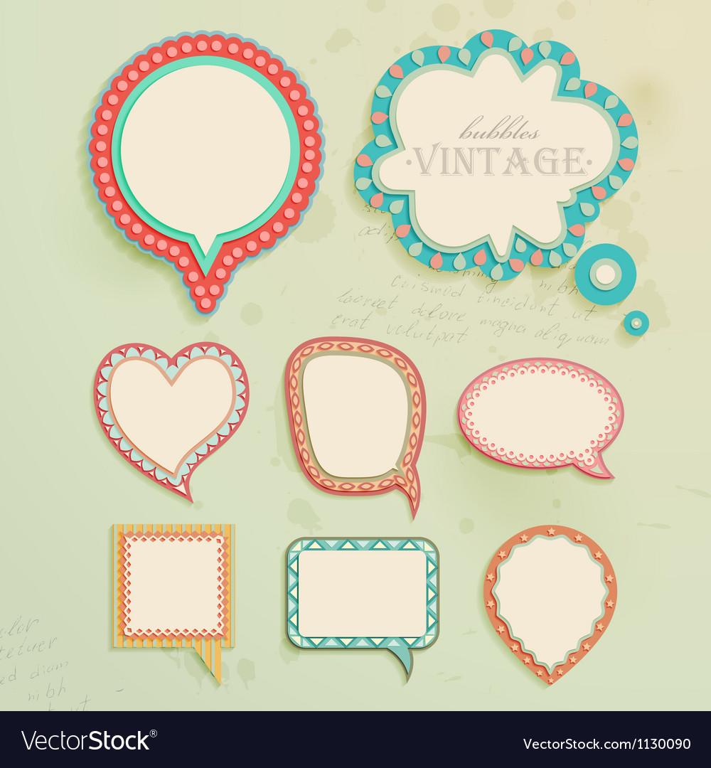 Vintage paper bubbles for speech vector image