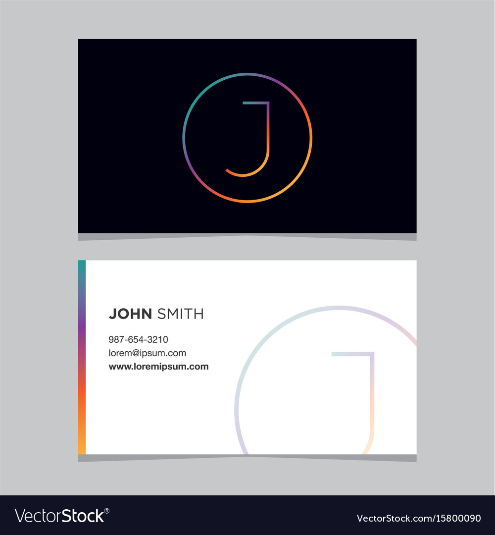 Business-card-letter-j vector image