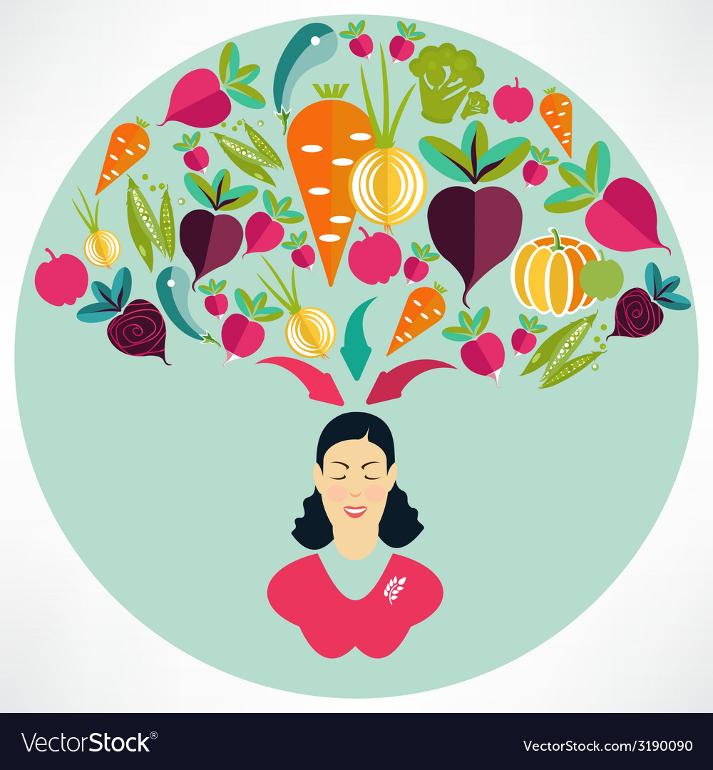 Elegant woman presenting healthy vegetables heart vector image