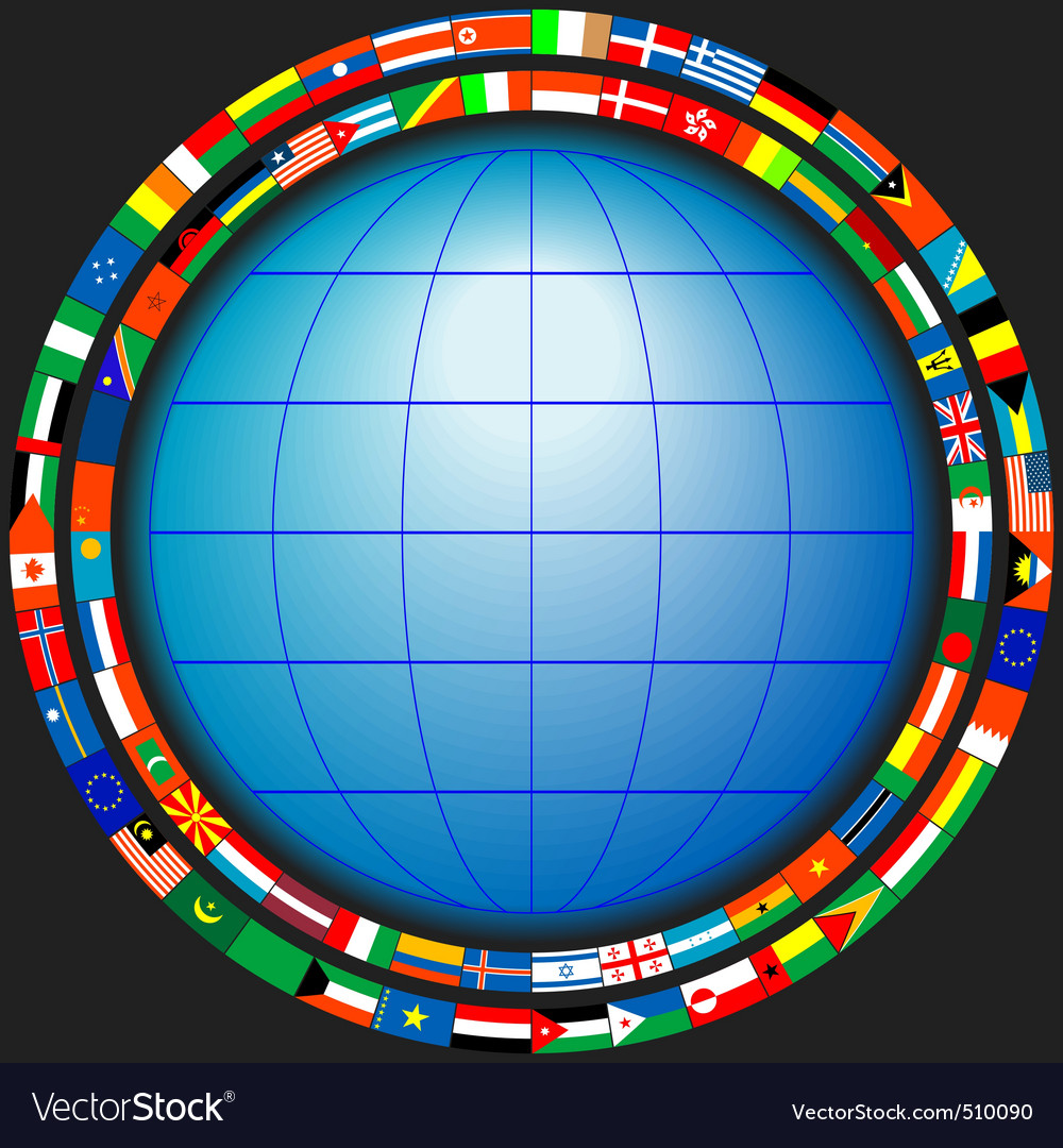 Globe flags vector image