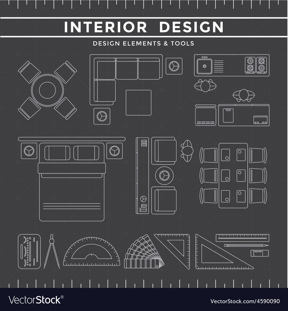 Interior design elements and tools on dark vector image for Free interior design tool