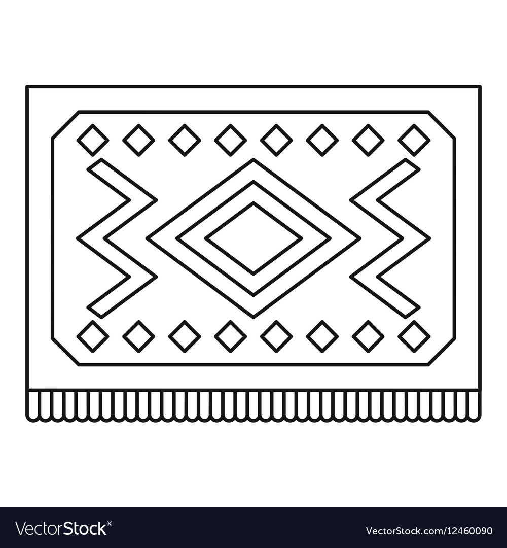 Turkish Carpet With Geometric Pattern Icon Vector Image