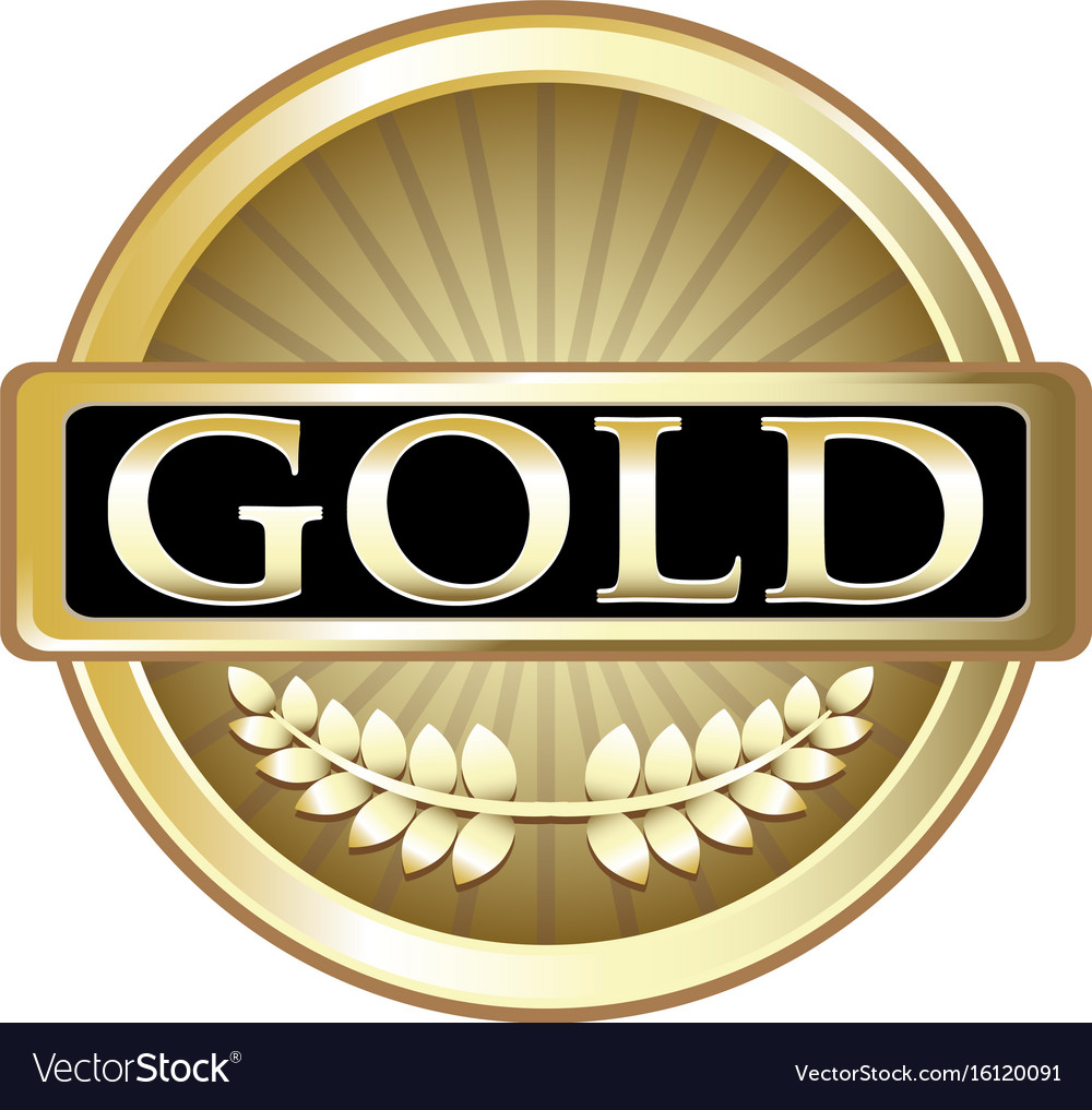 Gold label icon vector image