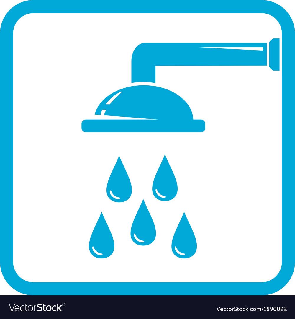 bathroom symbol with shower icon vector image - Bathroom Symbol