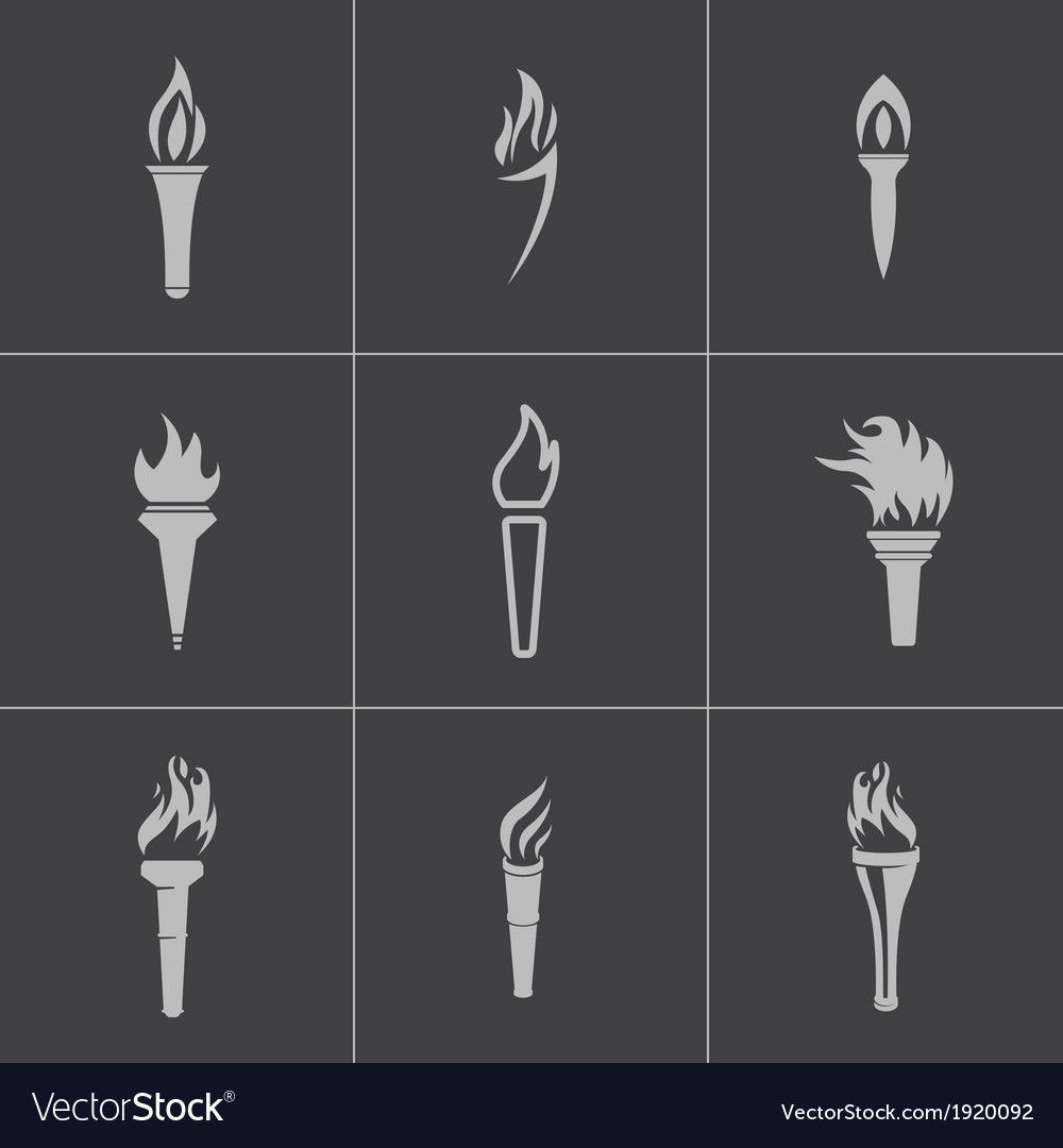 Black torch icons set vector image