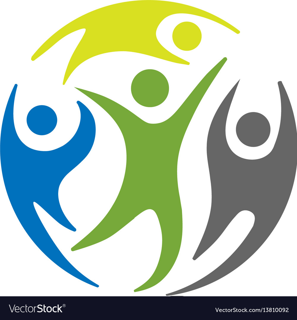 Circle people social groups logo vector image