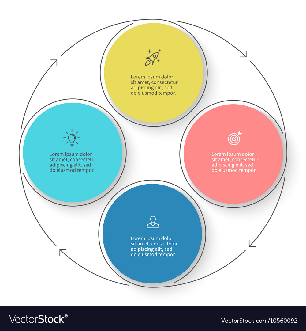 Four steps infographics with arrows design vector image