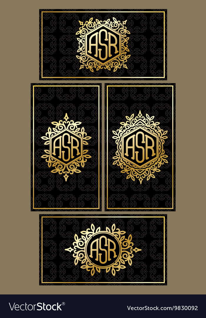 Set templates of business cards on black vector image