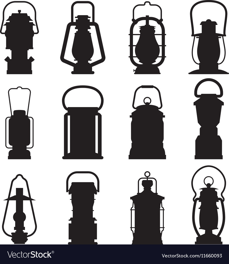 Camping Lantern Silhouettes vector image
