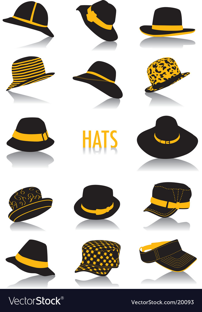 Hats silhouettes vector image