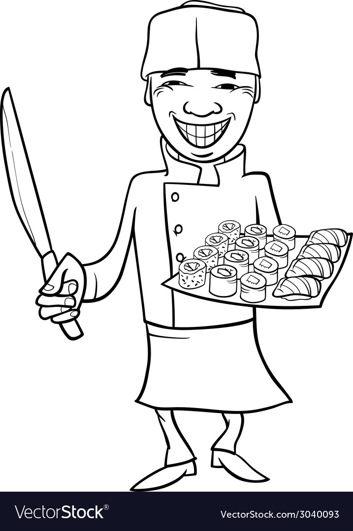 Japan sushi chef cartoon coloring page Royalty Free Vector