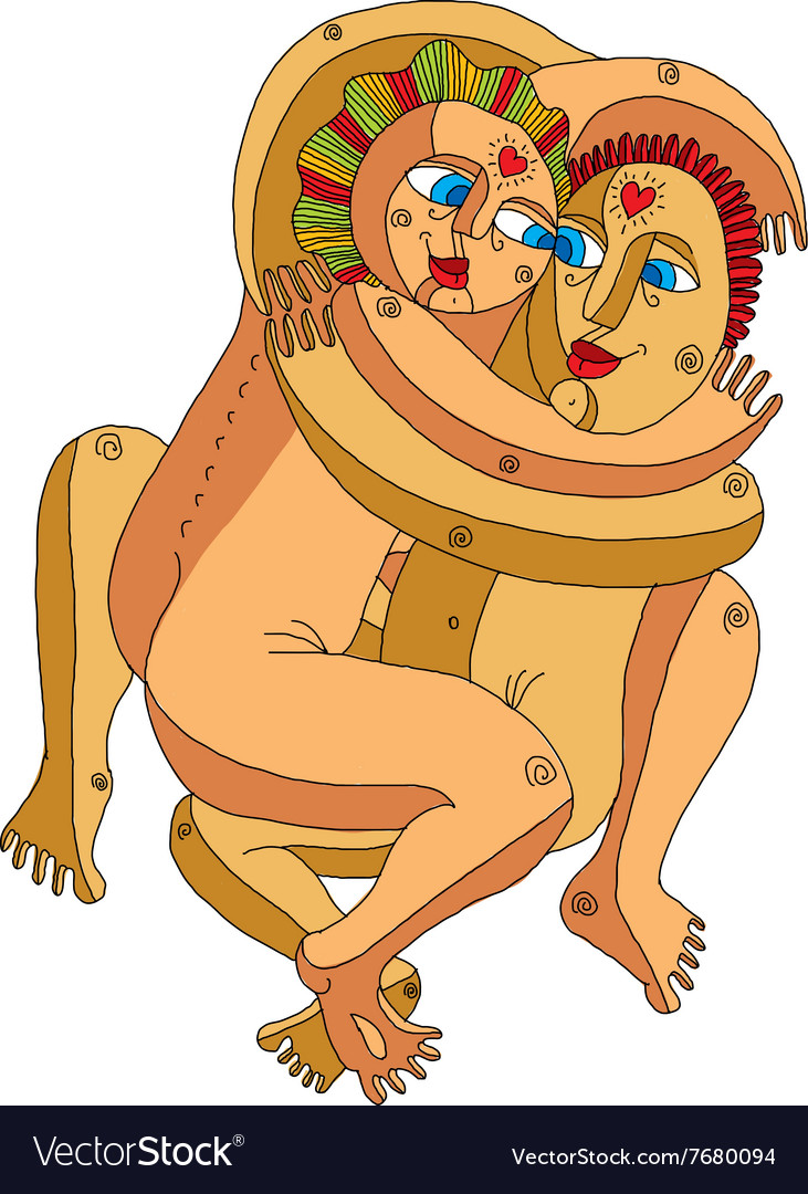 Hand drawn of heterosexual couple making lov vector image