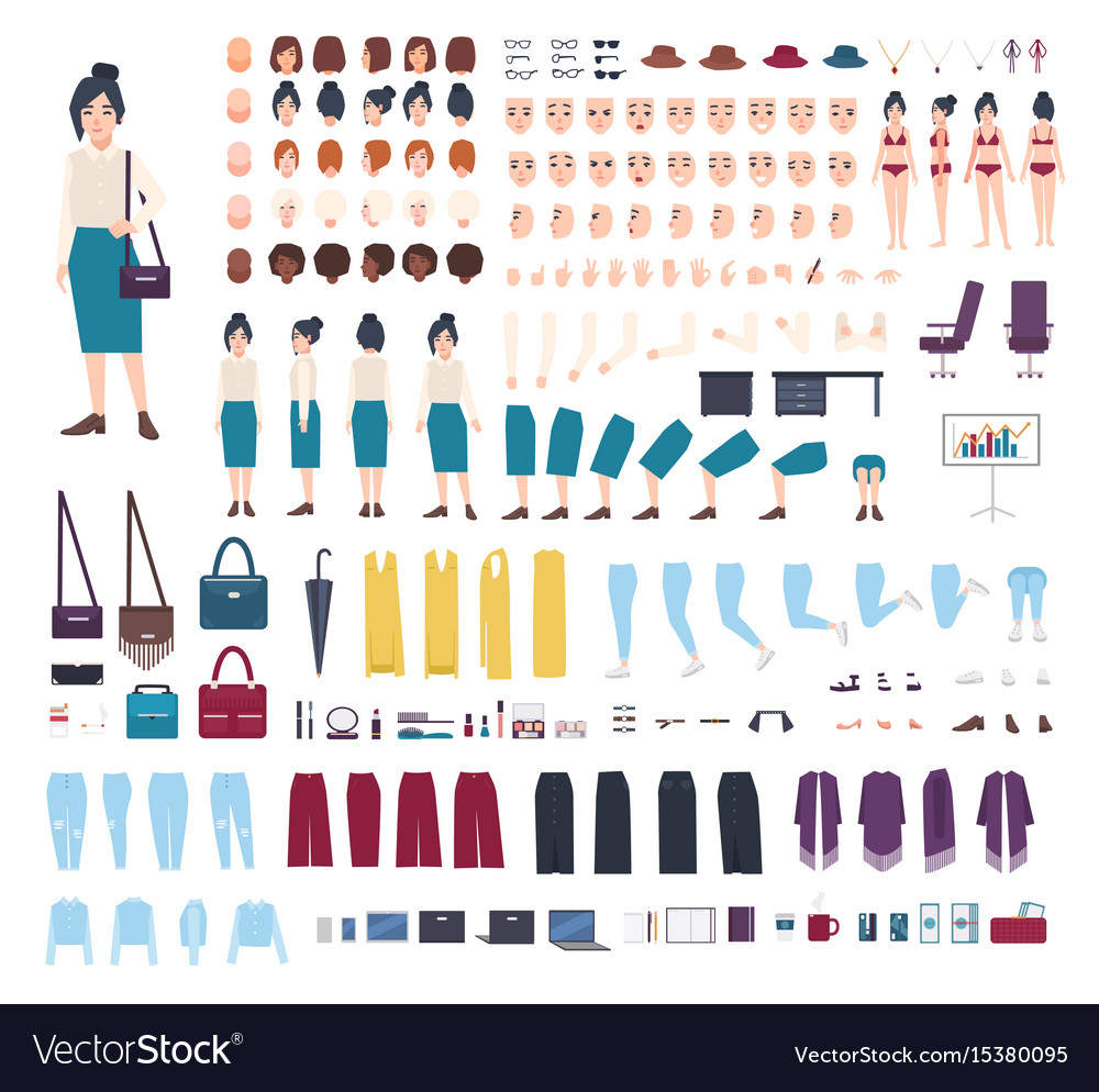 Business woman character constructor girl clerk vector image
