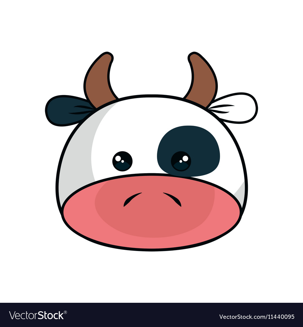 Cute cow stuffed icon vector image