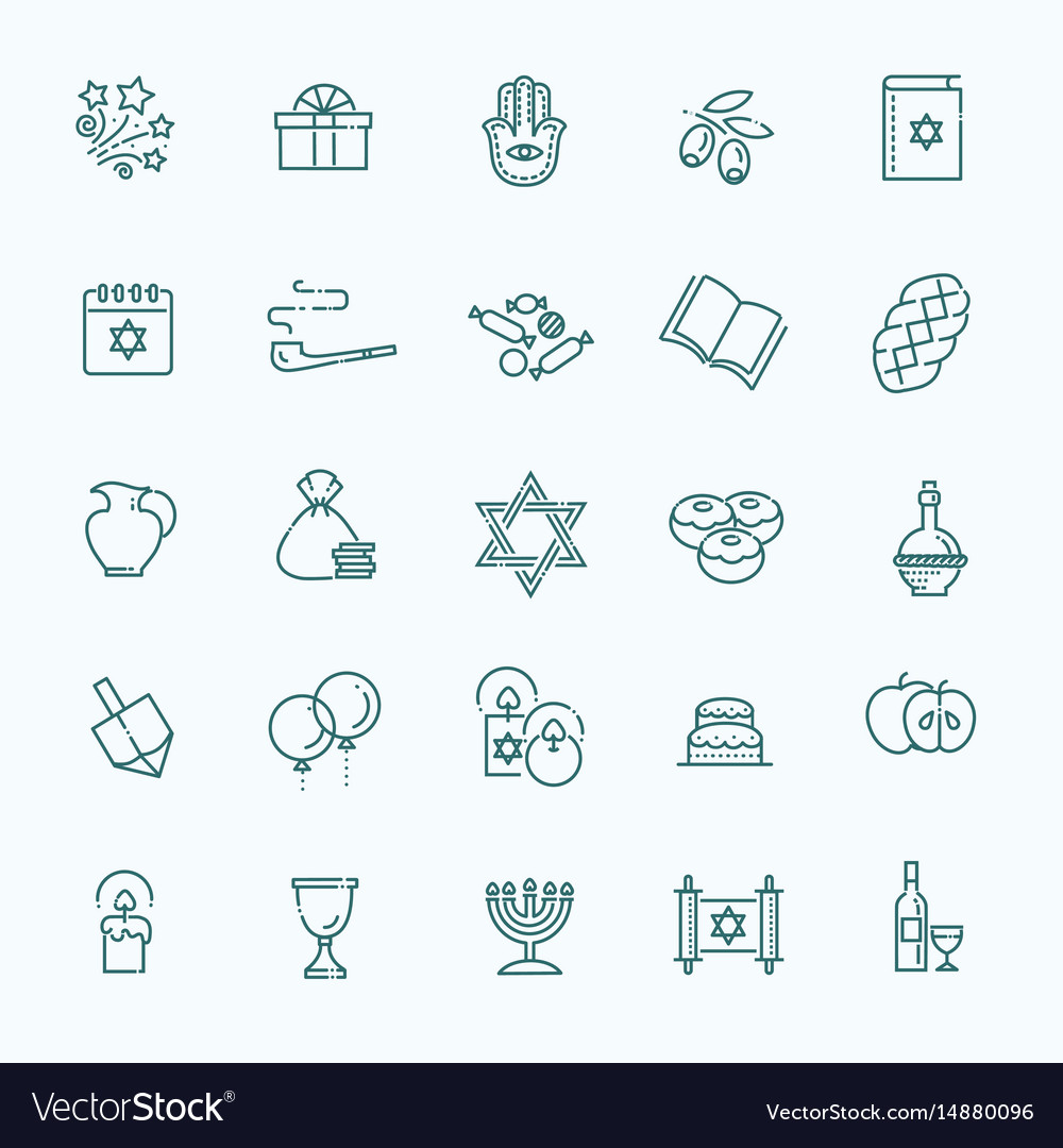 Outline icon collection symbols of hanukkah vector image outline icon collection symbols of hanukkah vector image buycottarizona Images