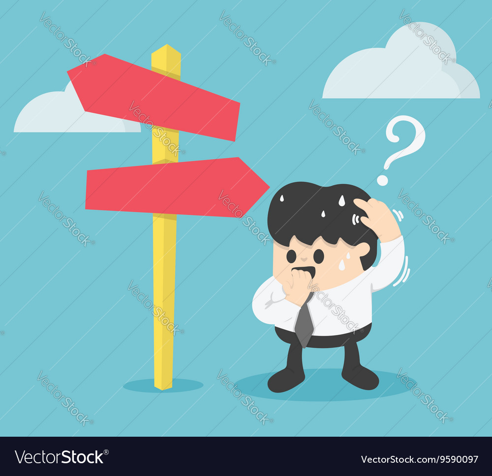 Businessman Standing at the crossroad vector image