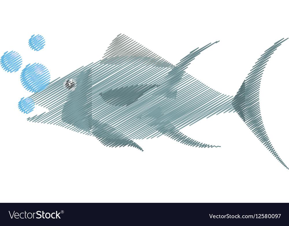 Hand drawing atun fish sealife food bubbles vector image