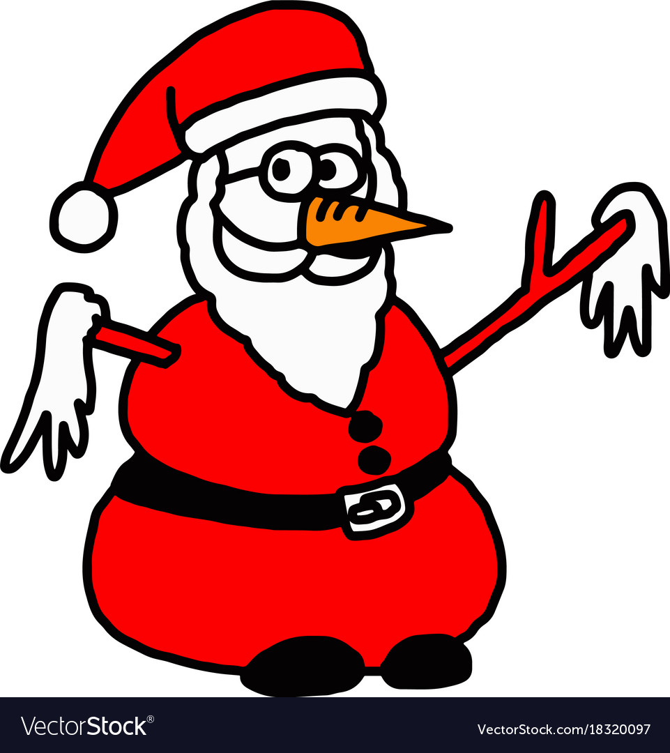 santa claus snowman doodle hand vector image - Santa Snowman