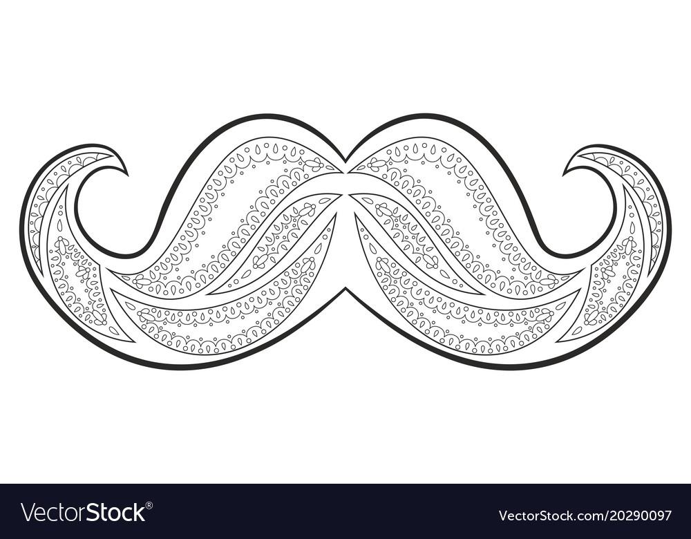Zen tangle mustache zentangle whisker coloring Vector Image