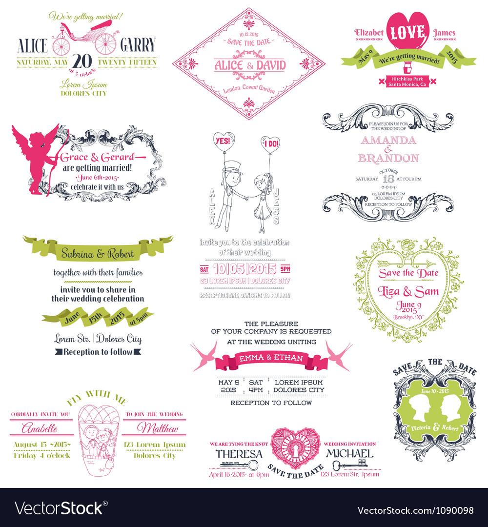 Wedding Set of design elements vector image