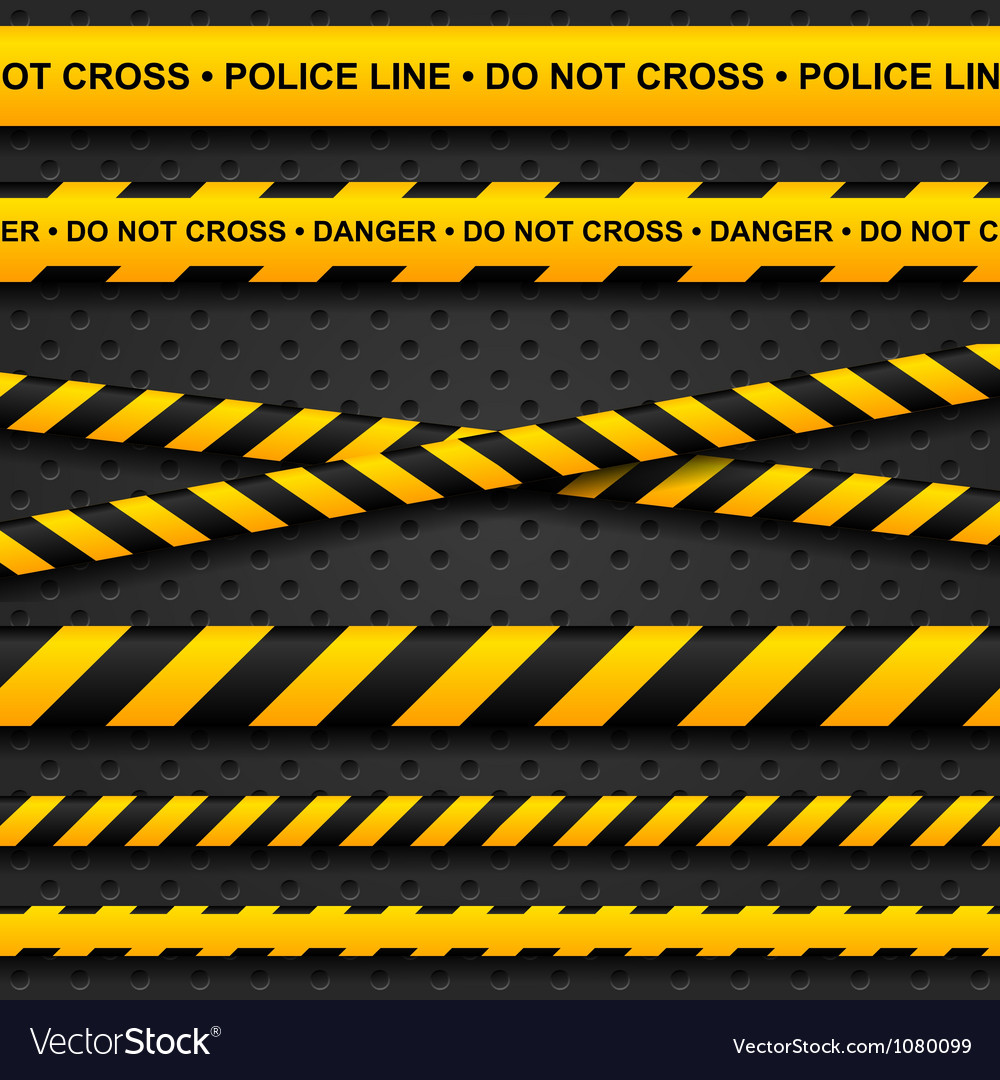 Police line and danger tapes on dark background Vector Image