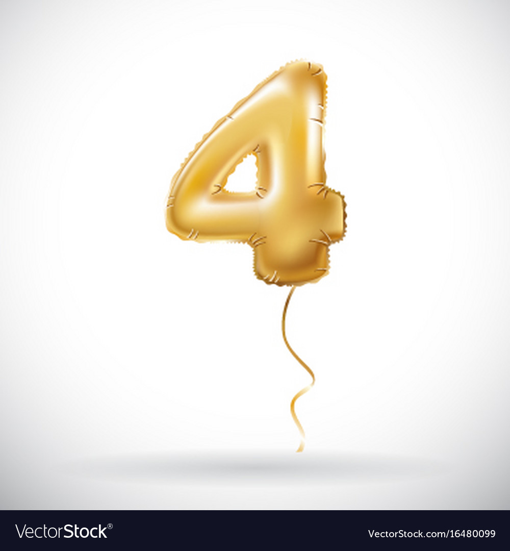 Golden 4 number four metallic balloon party vector image