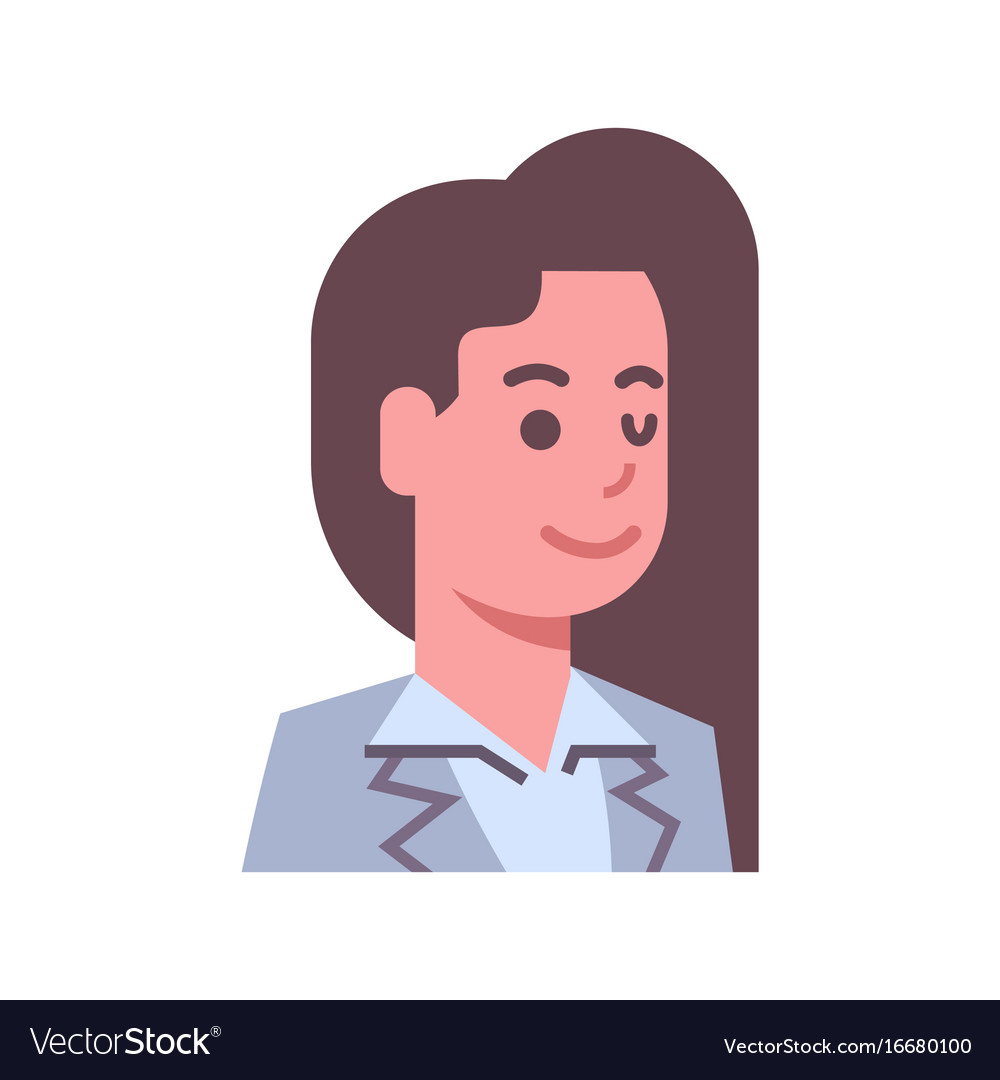 Female winking emotion icon isolated avatar woman vector image