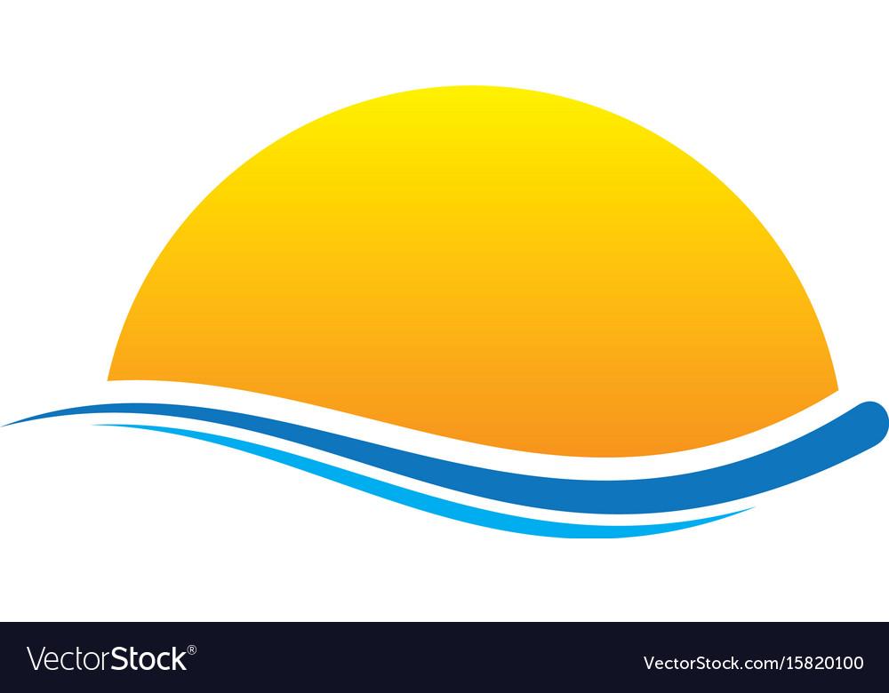 Sunset wave icon logo vector image