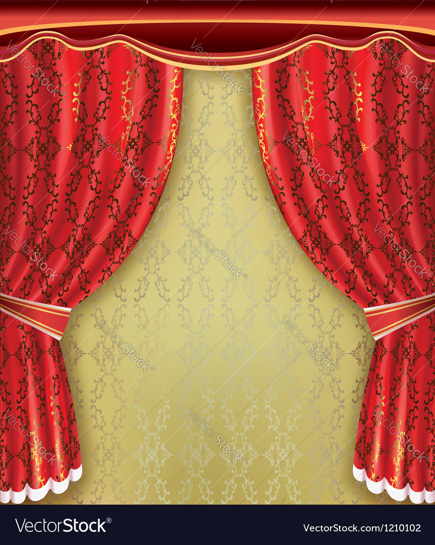 Luxury background Red curtain with golden pattern vector image
