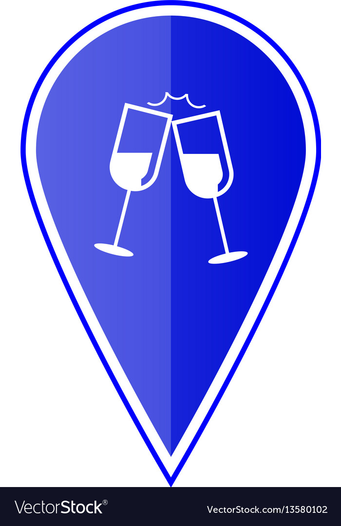 Blue map pointer with wine glasses vector image