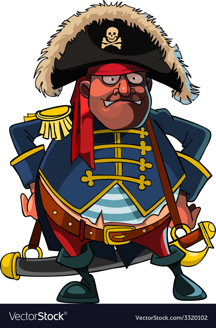 Cartoon pirate in a cocked hat and jacket vector image
