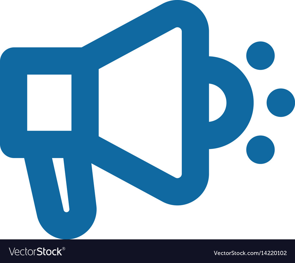 Megaphone icon bold lines blue clear vector image