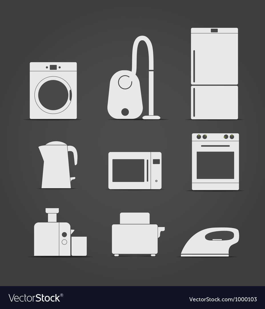 Abstract style home and kitchen equipment icons vector image