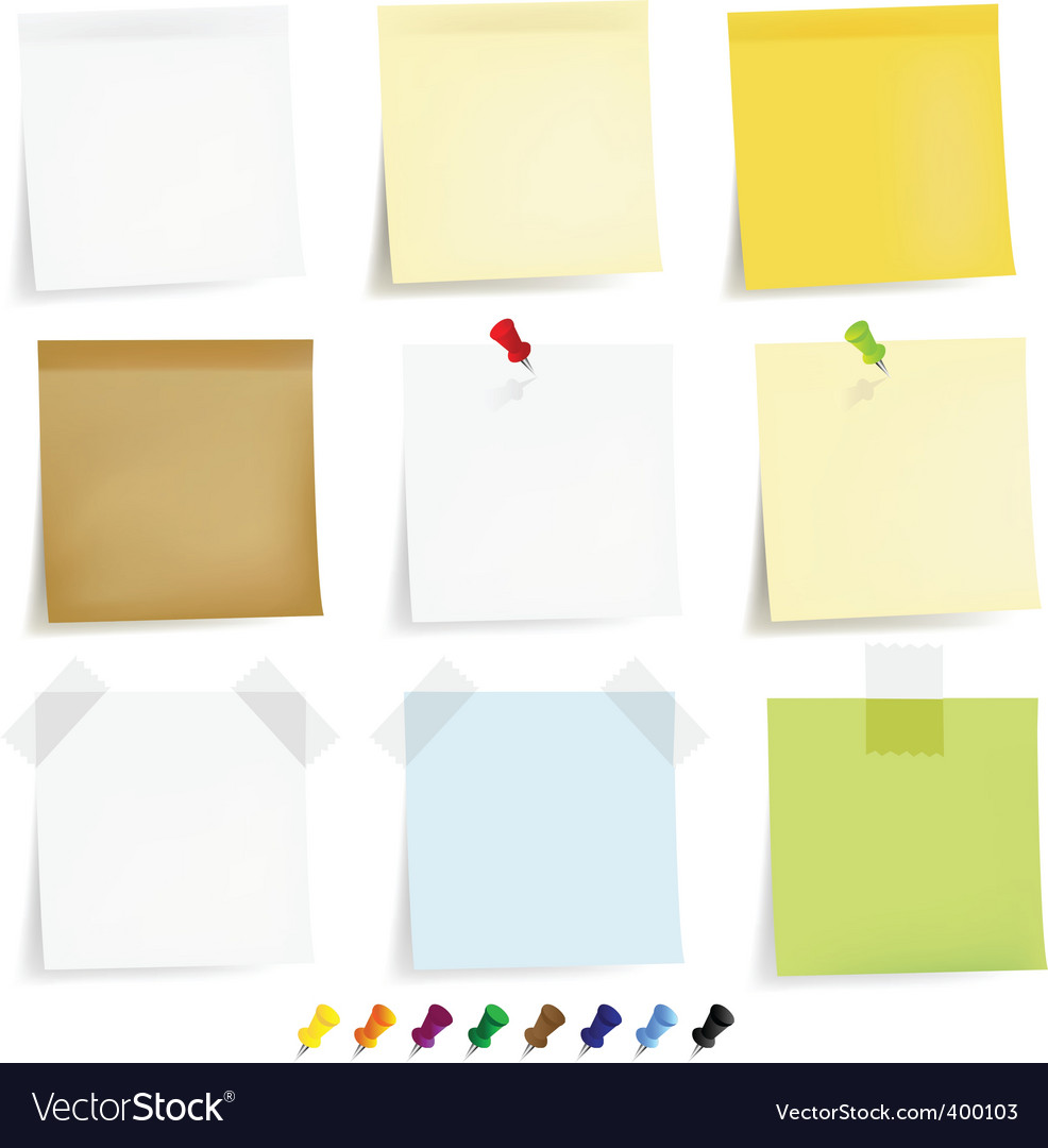 Notepaper and pins vector image