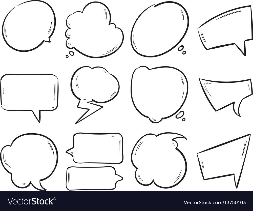 Doodle blank speech bubbles hand drawn cartoon vector image
