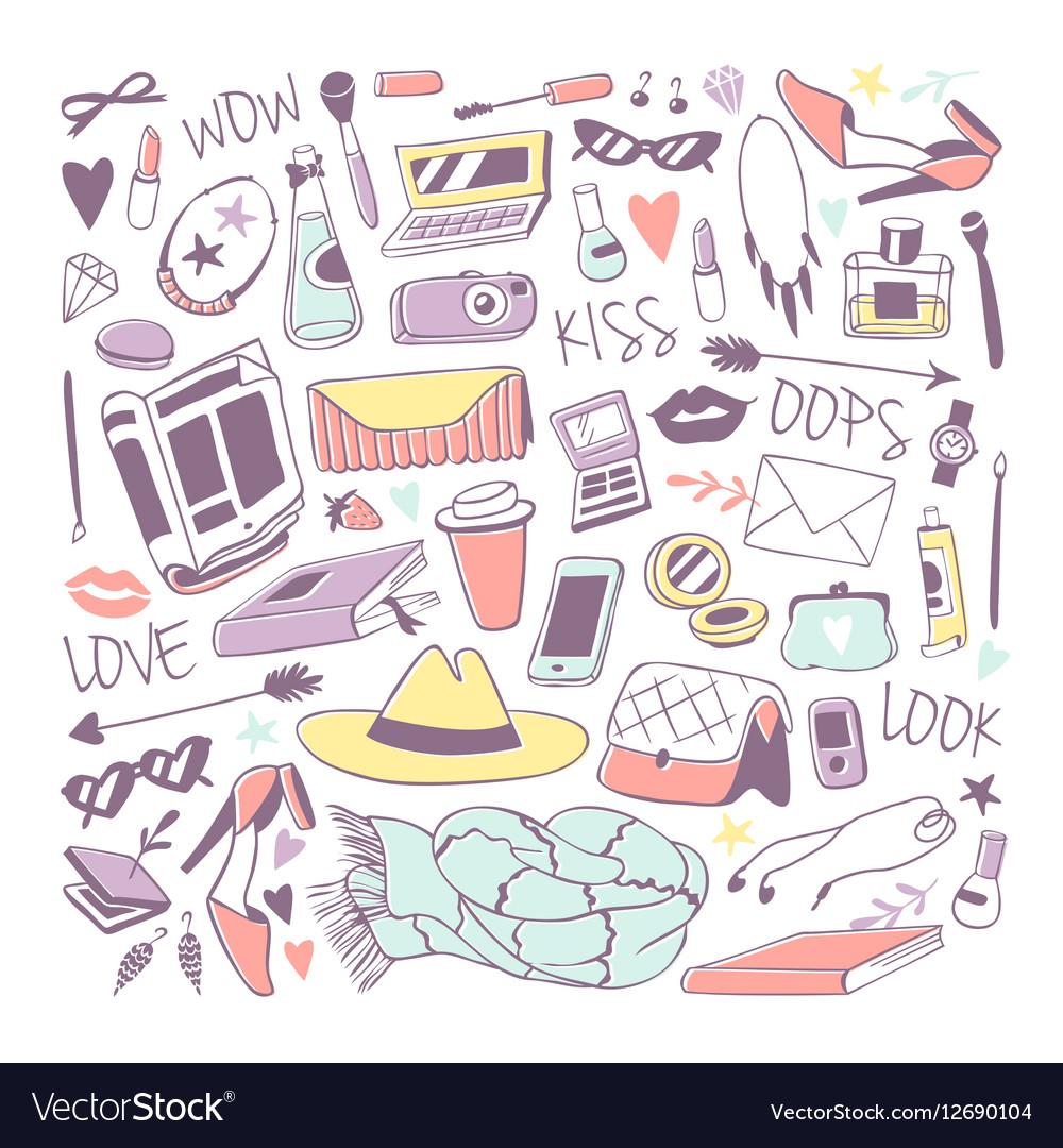 Cute feminine stuff hand drawn vector image