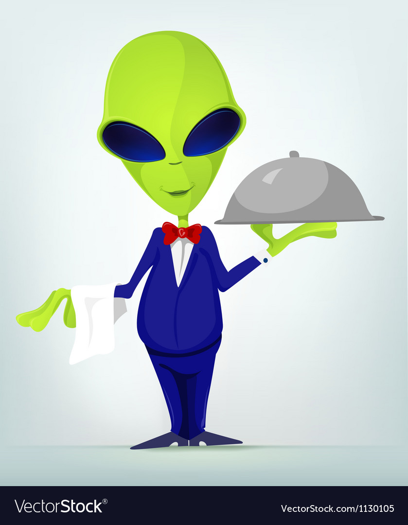 cartoon waiter alien royalty free vector image