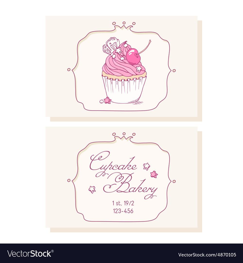 Hand drawn cherry cupcake business cards template vector image hand drawn cherry cupcake business cards template vector image magicingreecefo Images